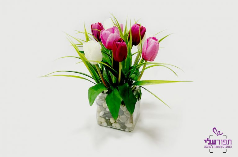 עציץ פרחי משי עם הקדשה אישית