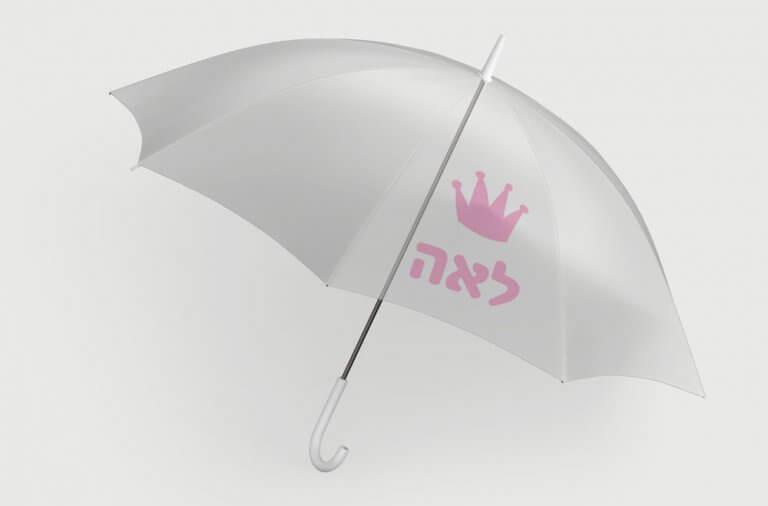 מטרייה שקופה עם הדפסה אישית