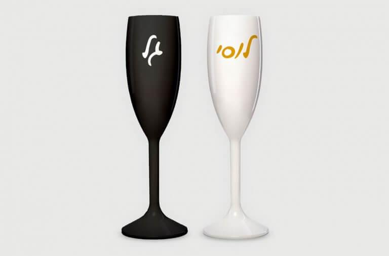 כוסות שמפנייה עם הדפסת שם